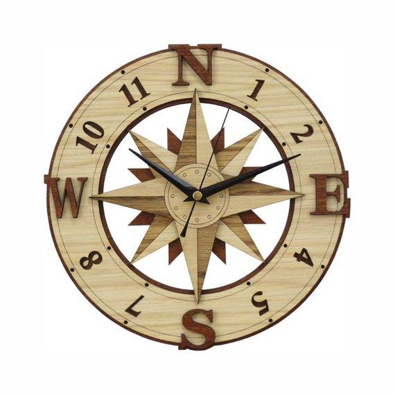 Compass Clock Laser Cut Files Vector Plans Svg Dxf Clock Svg