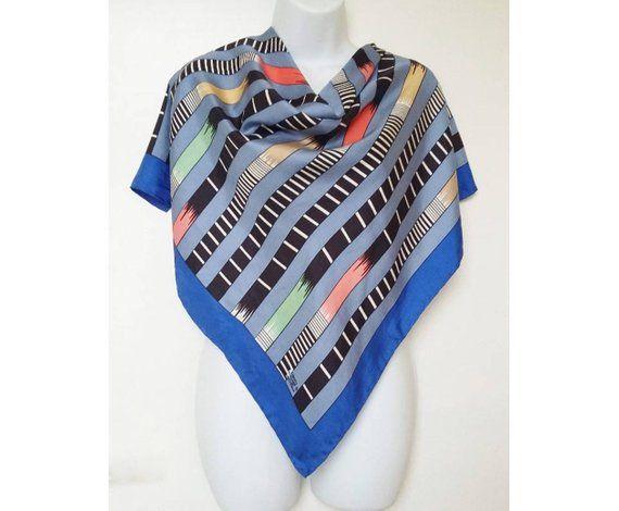 8697bf84bc Liberty Silk Scarf Blue Geometric Vintage Striped 1980s