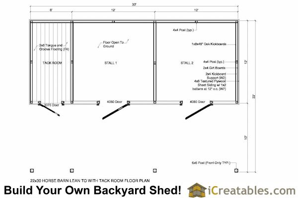 22x30 Hblttr 2 Stall Horse Barn Lean To Tack Room Floor Jpg 600 400 Horse Barn Plans Small Horse Barns Horse Barn