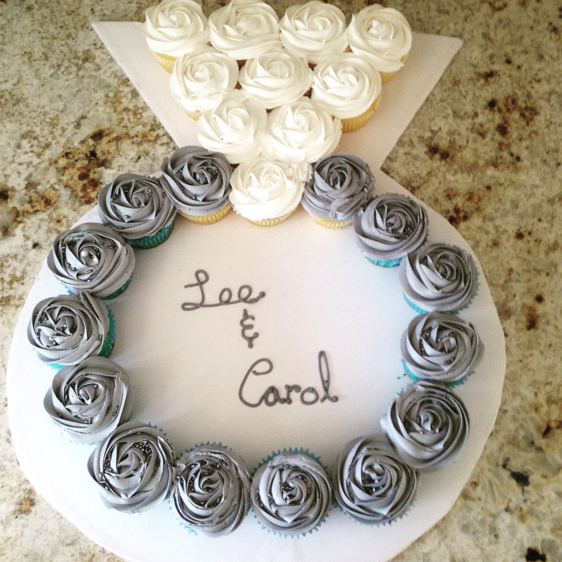 engagement wedding party cupcakes in the shape of a ring