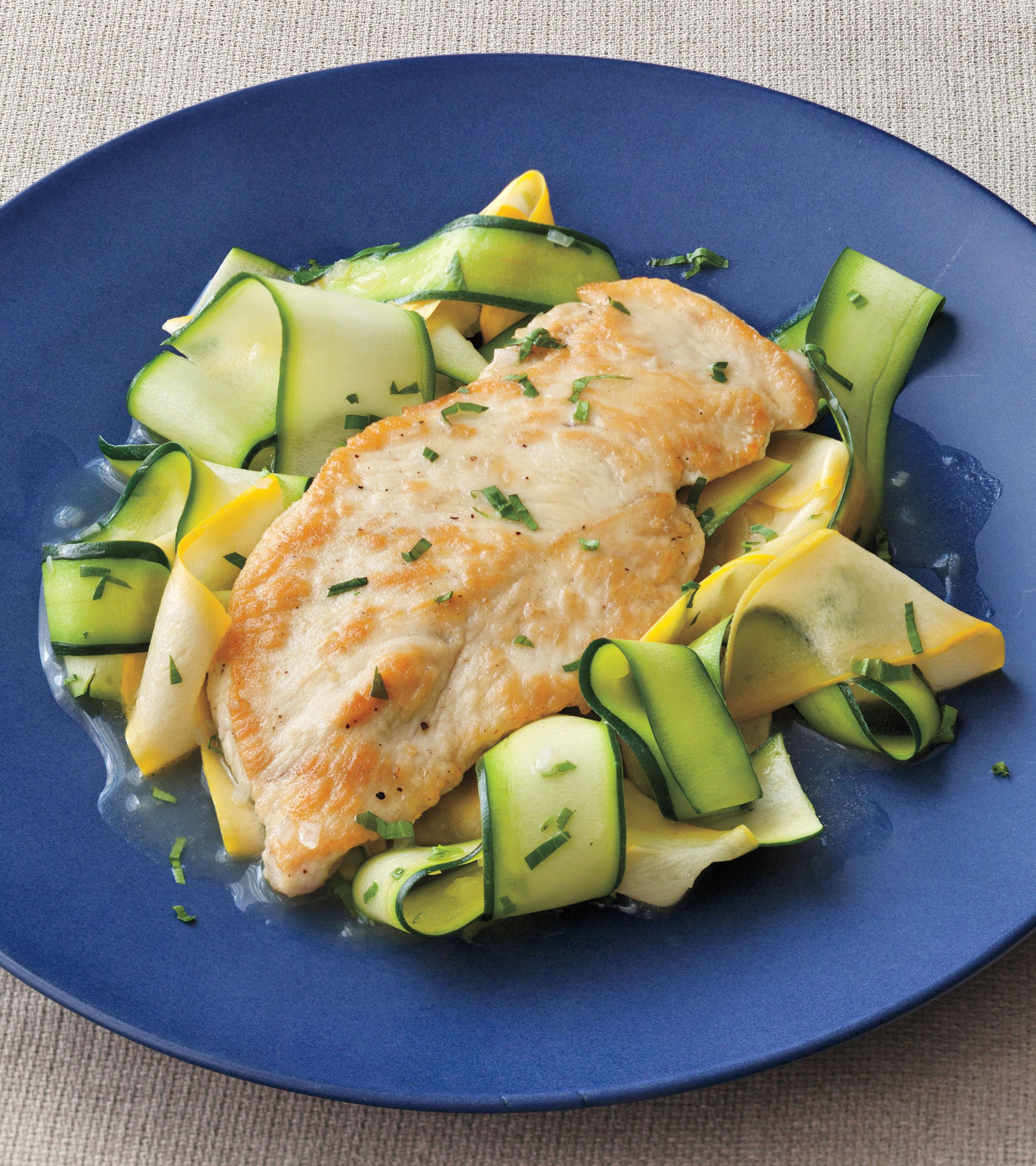 Lemon tarragon chicken with squash ribbons i ellie krieger food food network star ellie kriegers dos and donts of cooking healthfully forumfinder Images