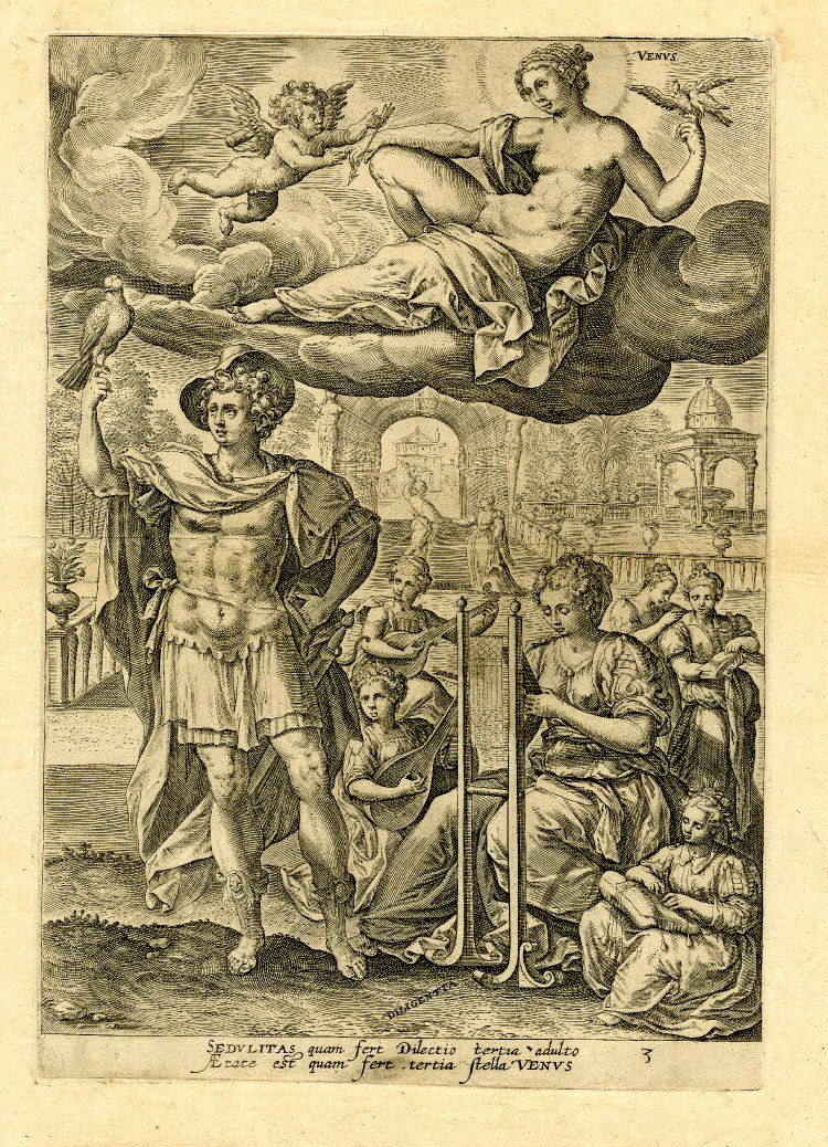 """Venus; she reclines on a cloud and takes an arrow from Cupid; on earth below a man holds up a hawk perched on his finger besides """"Diligentia, after Maarten de Vos. 1581 Engraving"""