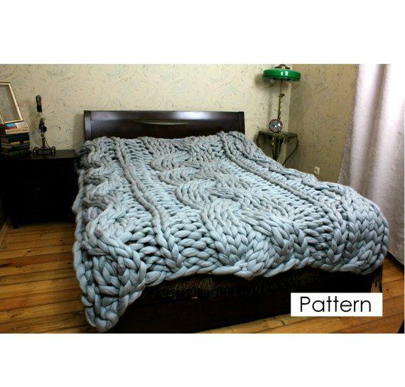 Knitting Pattern Blanket Chunky Knit Blanket Pattern Instant
