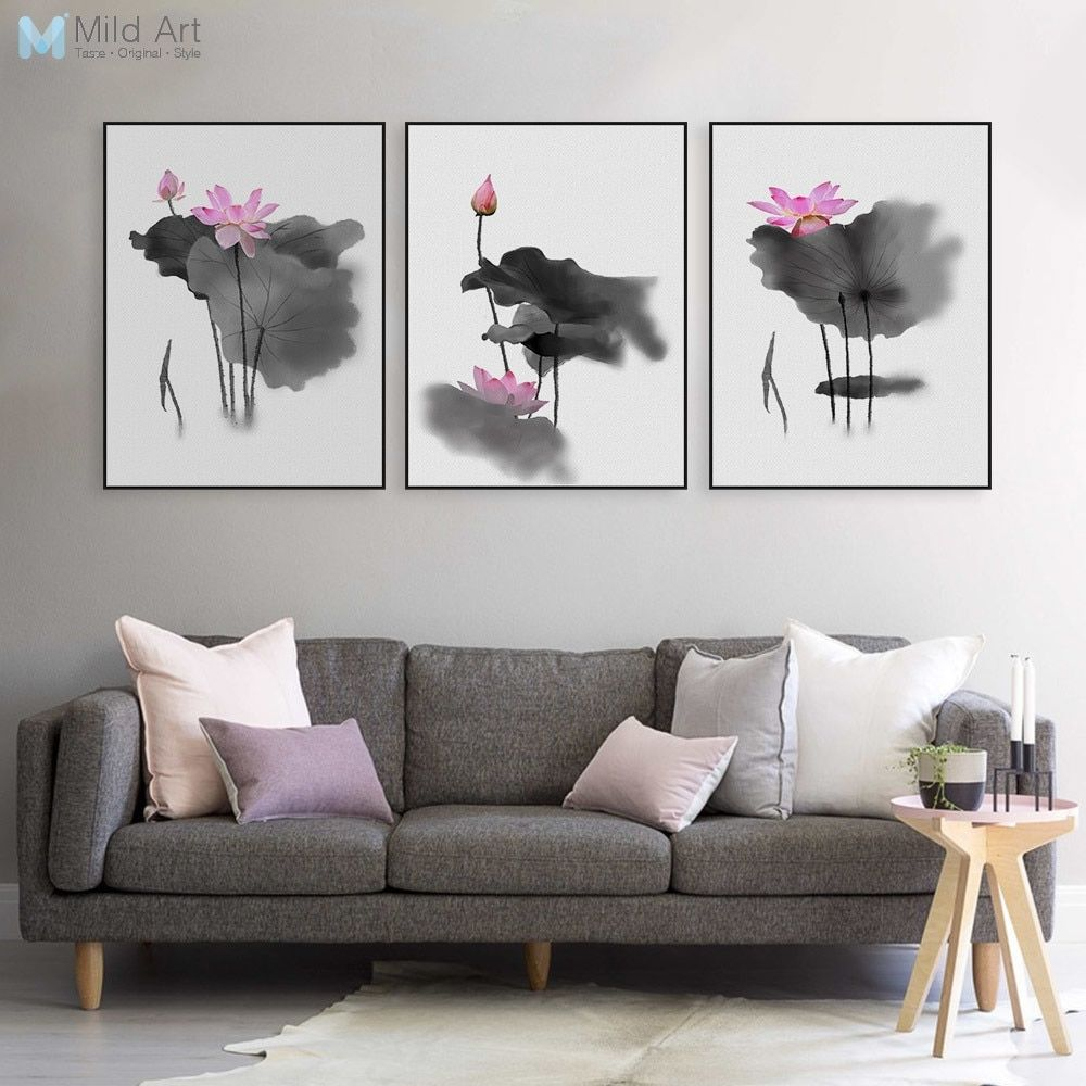 Triptych Modern Watercolor Chinese Calligraphy Ink Lotus Canvas A4 Art Print Poster Asian Pictures Wall Decor Paintings Custom Modern Watercolor Art Living Room Art Prints Wall Decor Pictures
