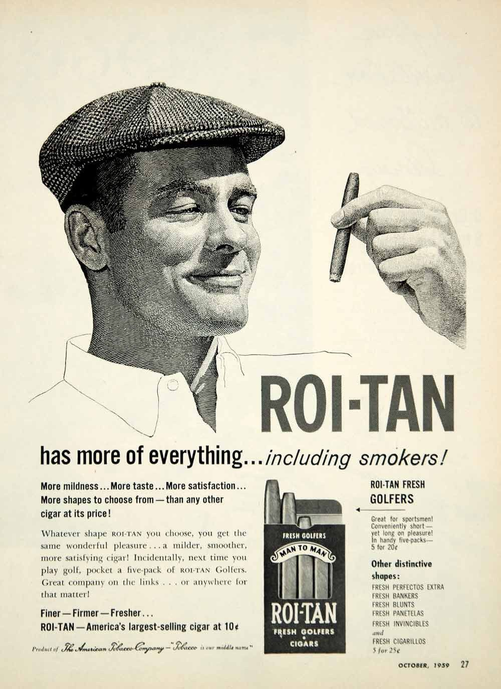 1959 Ad American Tobacco Roi-Tan Golfers Cigars Smoking