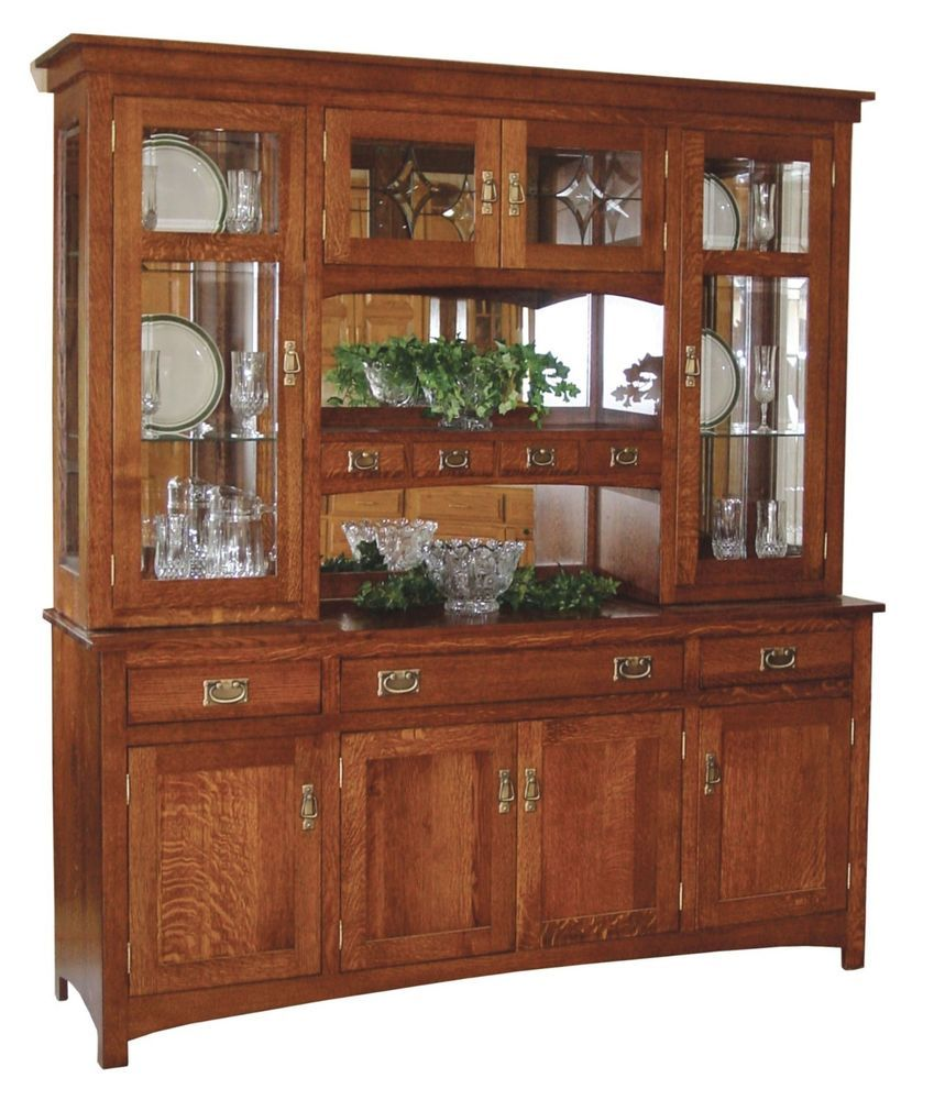 Oak Kitchen Buffet Cabinet Amish Dining Room Furniture Mission Hutch Buffet Server China Cabinet Solid  Wood