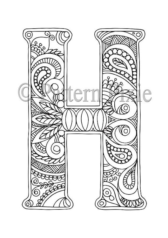Adult colouring page alphabet letter h alfabeto for Alphabet coloring pages for adults