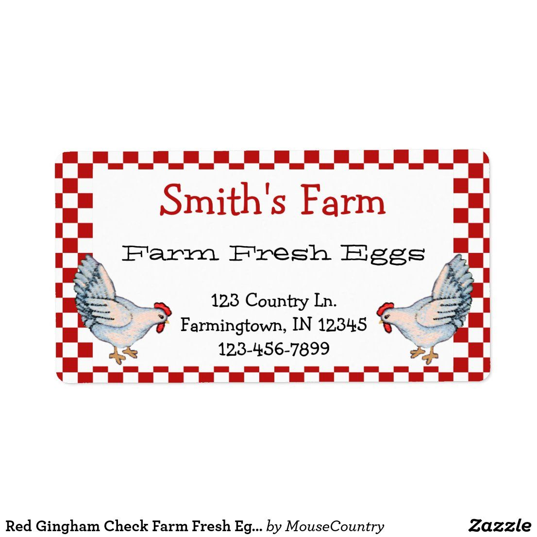 Red Gingham Check Farm Fresh Eggs Chickens Label