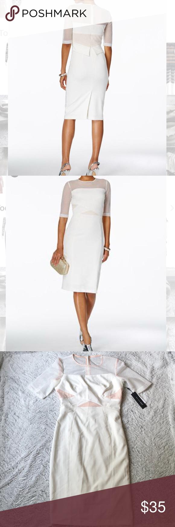 0cba9728c0 NWT jax black label sheath mesh pencil dress sz 6 New with tags Jax black  label ivory pencil white mesh illusion sheath dress. Size 6. Short sleeve.