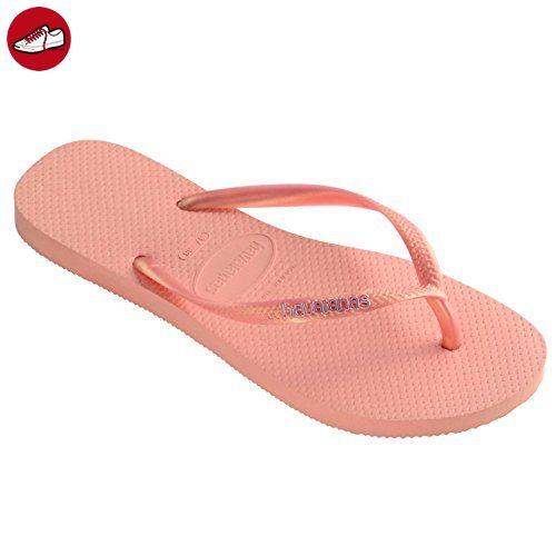 Damen Havaianas Brasil Logo Schlüpfen-Auf Flip Flops Sommer Strand-Sandalen Neu - Sandy Grau - 37/38 B6sEHSFQP4