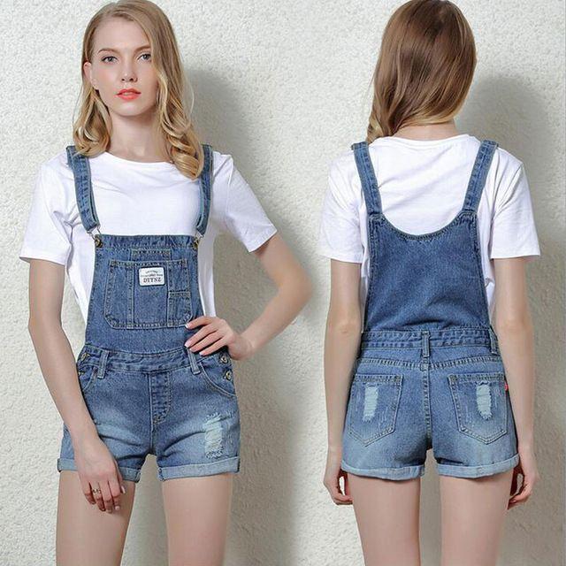 fa1ad06fc0 Mulheres Verão Shorts Jeans Rasgado Feminino Jardineira Shorts Jeans Mulher  de Algodão Casuais Shorts Jeans Macacão Jeans Calças