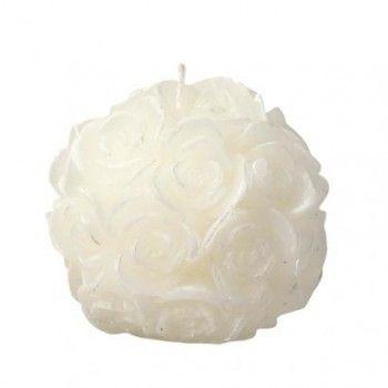 Bougie artisanale boule de roses blanches                                                                                                                                                                                 Plus