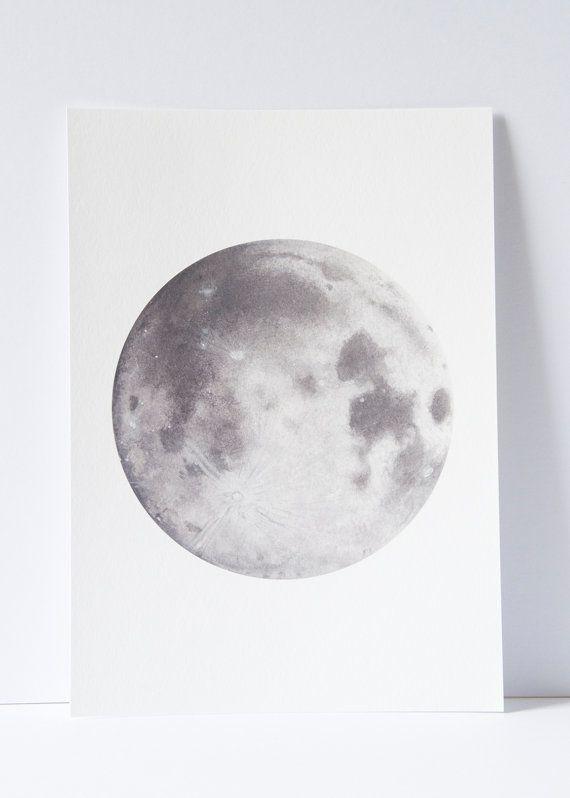 Watercolour Moon Print Moon Art Space Art Lunar Art Moon Painting Bohemian Decor Watercolour Painting Moon Drawin Moon Painting Watercolor Moon Moon Art