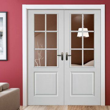 jbk faro white primed door pair with clear safety glass - Glass Interior Doors
