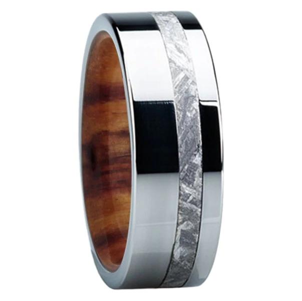 8 mm Meteorite Mens Wedding Bands in wood/Titanium E118M