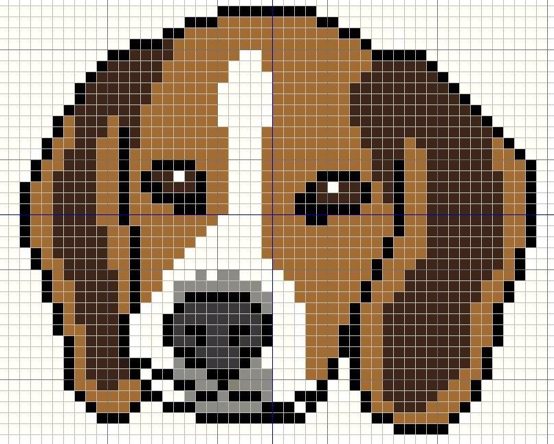 Buzy Bobbins: Beagle puppy portrait - simple cross sitich design