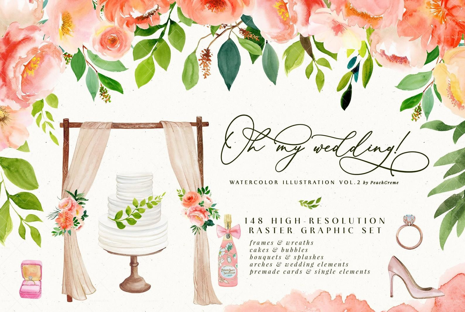 Oh My Wedding Watercolor Flower Clip Art Collection Wedding
