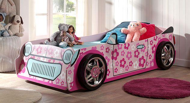 Kinderbett auto mädchen  Quietsch-Pinkes Autobett mit Blumenaufdrucken. Der Traum einer ...
