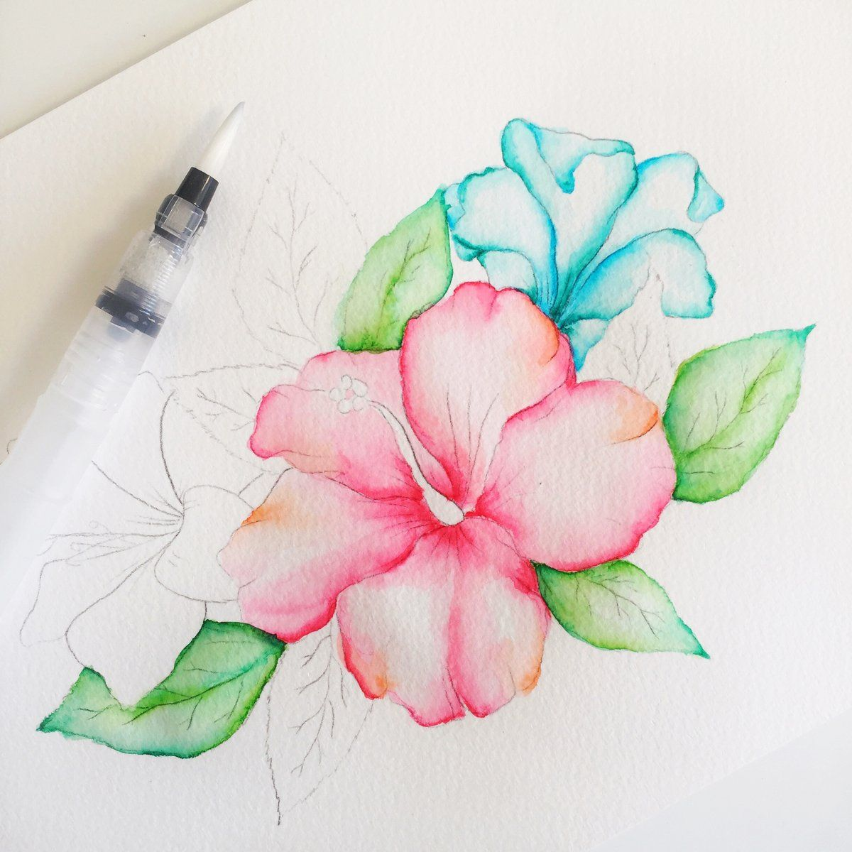 Watercolor Hibiscus Process In 2020 Watercolor Pencil Art Water