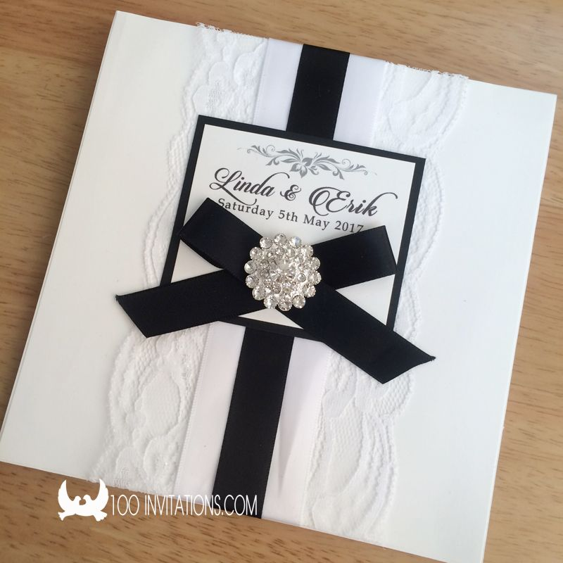 Black And White Lace Wedding Invitations Lace Wedding