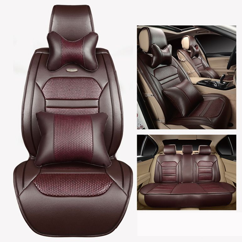 Auto Car Seat Covers Coffee Beige Orange Black Free Shipping Luxury Leather