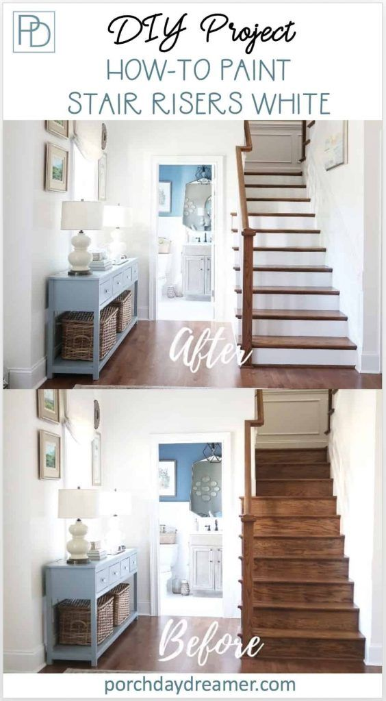 Best How To Prep And Paint Stained Stairs White Painted Stair 400 x 300