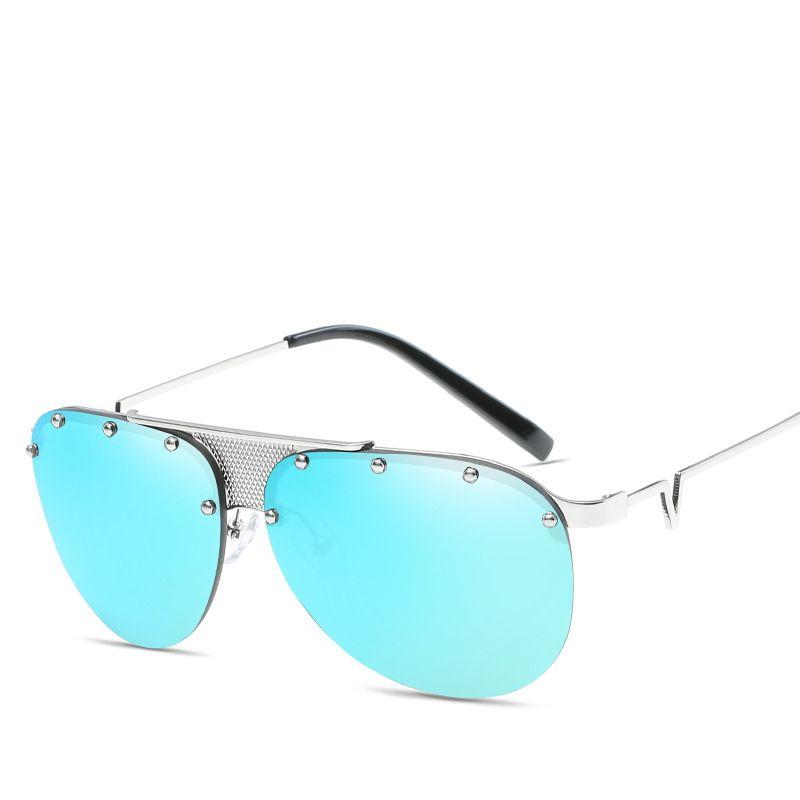 Click to Buy << Fashion Silver Frame Blue Slice Eyeglasses Retro ...