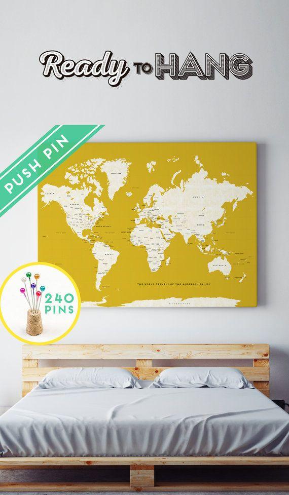 Custom Large World Map Canvas YELLOW