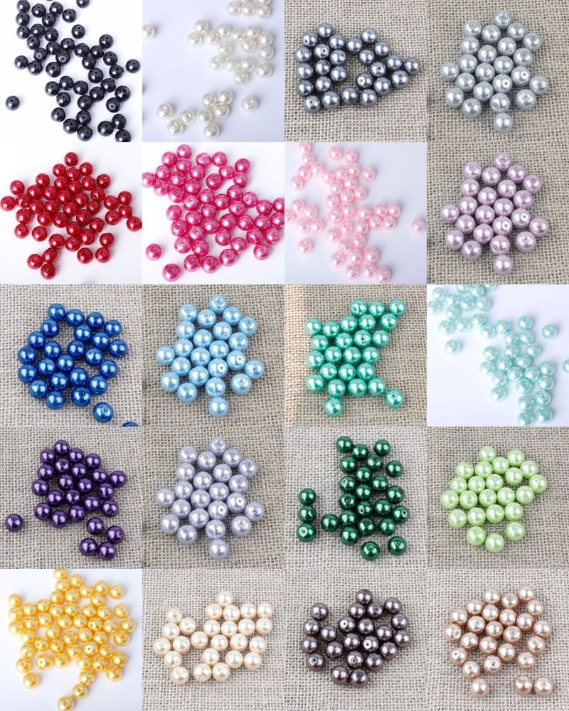 Buy 3 Get 3 Free Jewellery Making Crafts Glass Pearl Beads 4,6,8,10,12mm } {