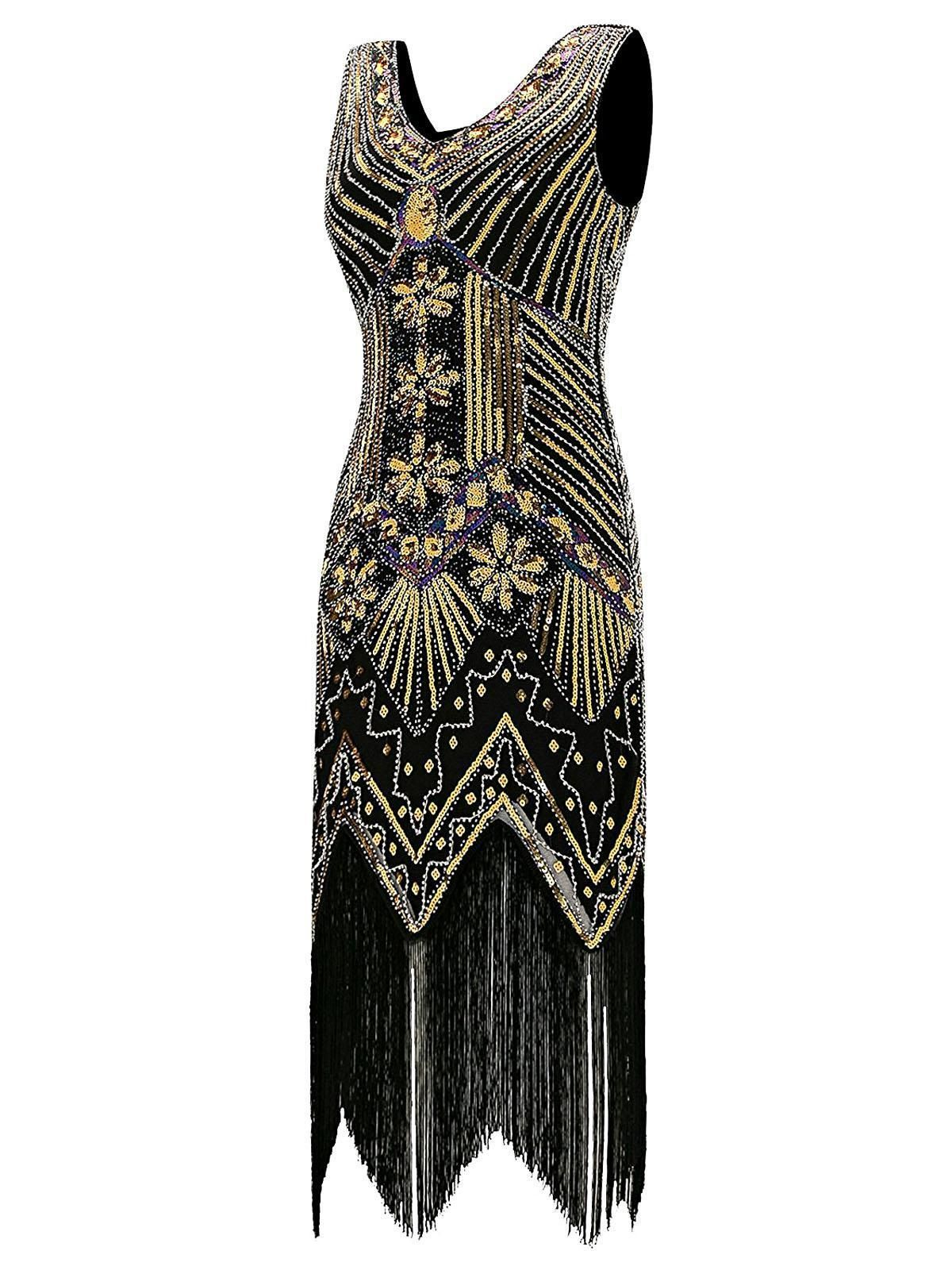 03b5a7687ab Gold 1920s Sequined Flapper Dress – Retro Stage - Chic Vintage Dresses and  Accessories