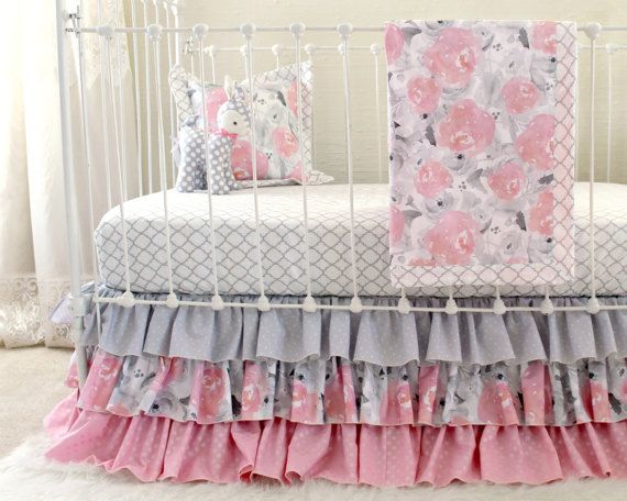 Pink Gray Crib Bedding Watercolor Fl Baby Grey Nursery Set Ruffle Blanket Pillow Sheet And Skirt