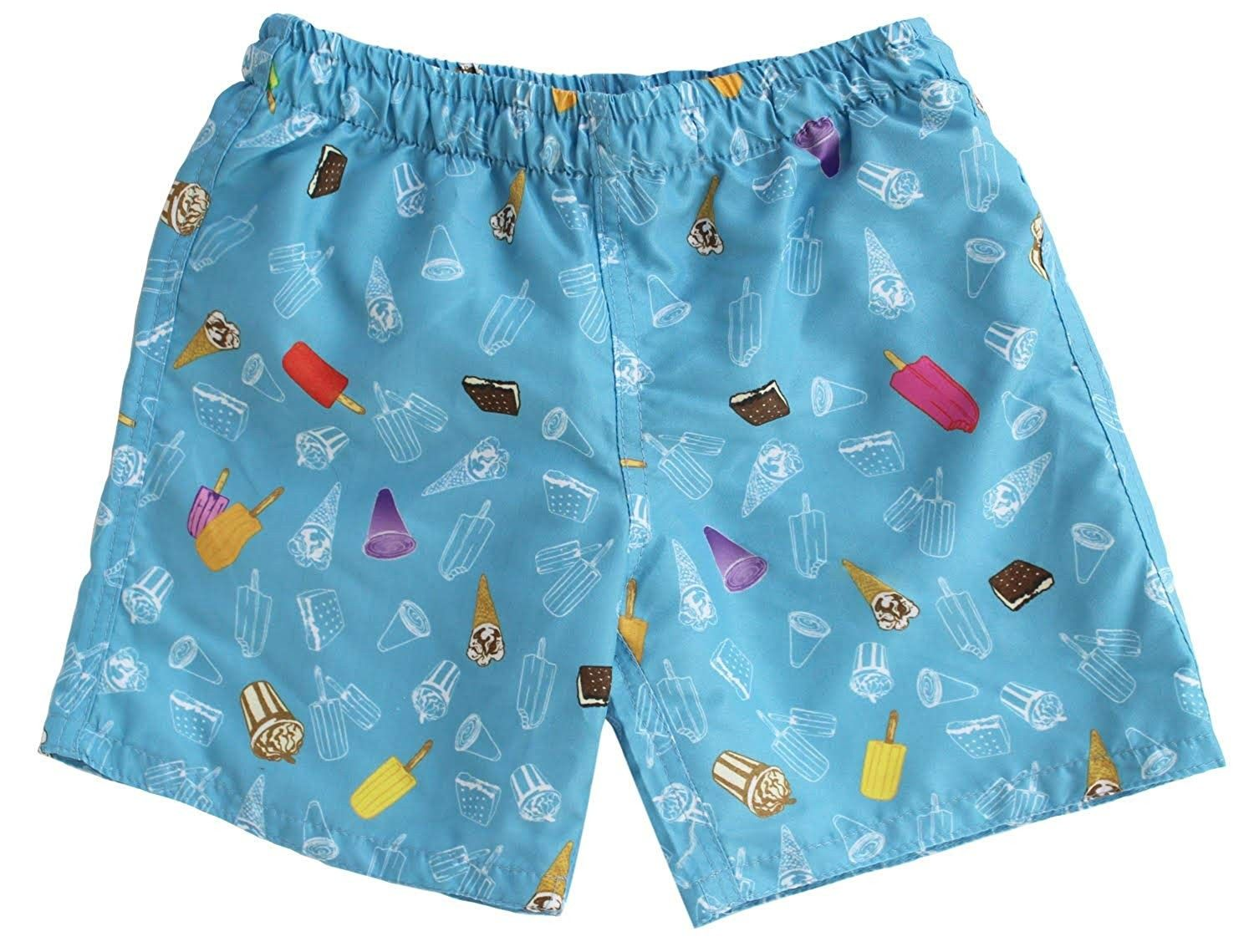 Mens Ice Cream Colorful Pattern Swim Trunks Boardshorts with Pokets Beach Shorts