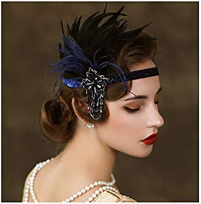 SWEETV Feather Flapper Headpiece Navy, Rhinestone Feather 1920s Headband, the Great Gatsby Hair Accessories