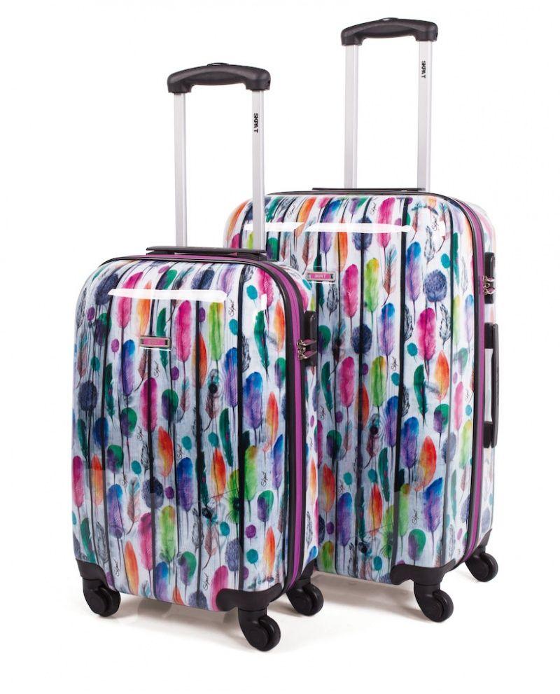 041909581 Juego de maletas rígidas de Skpa-t con plumas de colores Valijas Rigidas,  Viaje