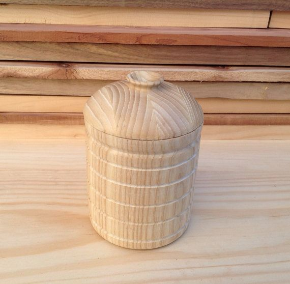 Wood Canister Handmade from Ash- 14A001