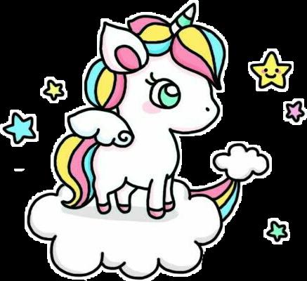 Kawaii Unicorn Sticker By Maria Eduarda Santana