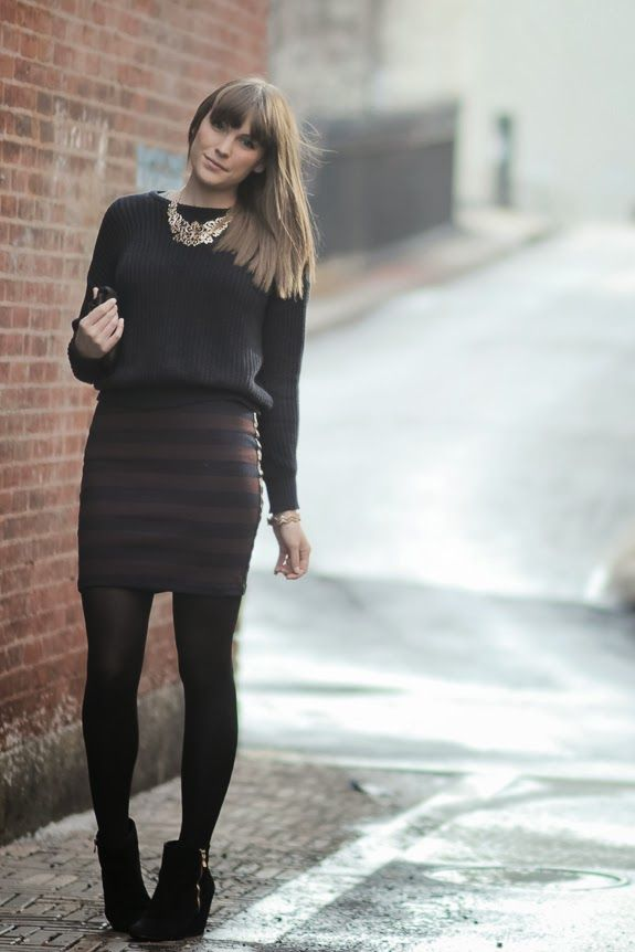 Ankel Boots Black Leggings with Sweater and Dress