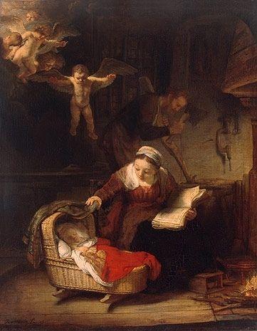 """Algumas das fotos do final da trilha revelar um Rembrandt """", com grande rigor de espírito"""", diz Vergara. """"A Sagrada Família"""" (1645)."""