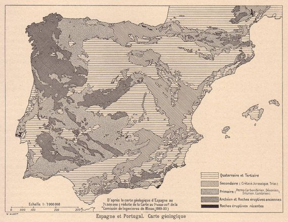 Spain Portugal Geological Map Original By PaperThesaurus - Portugal geology map