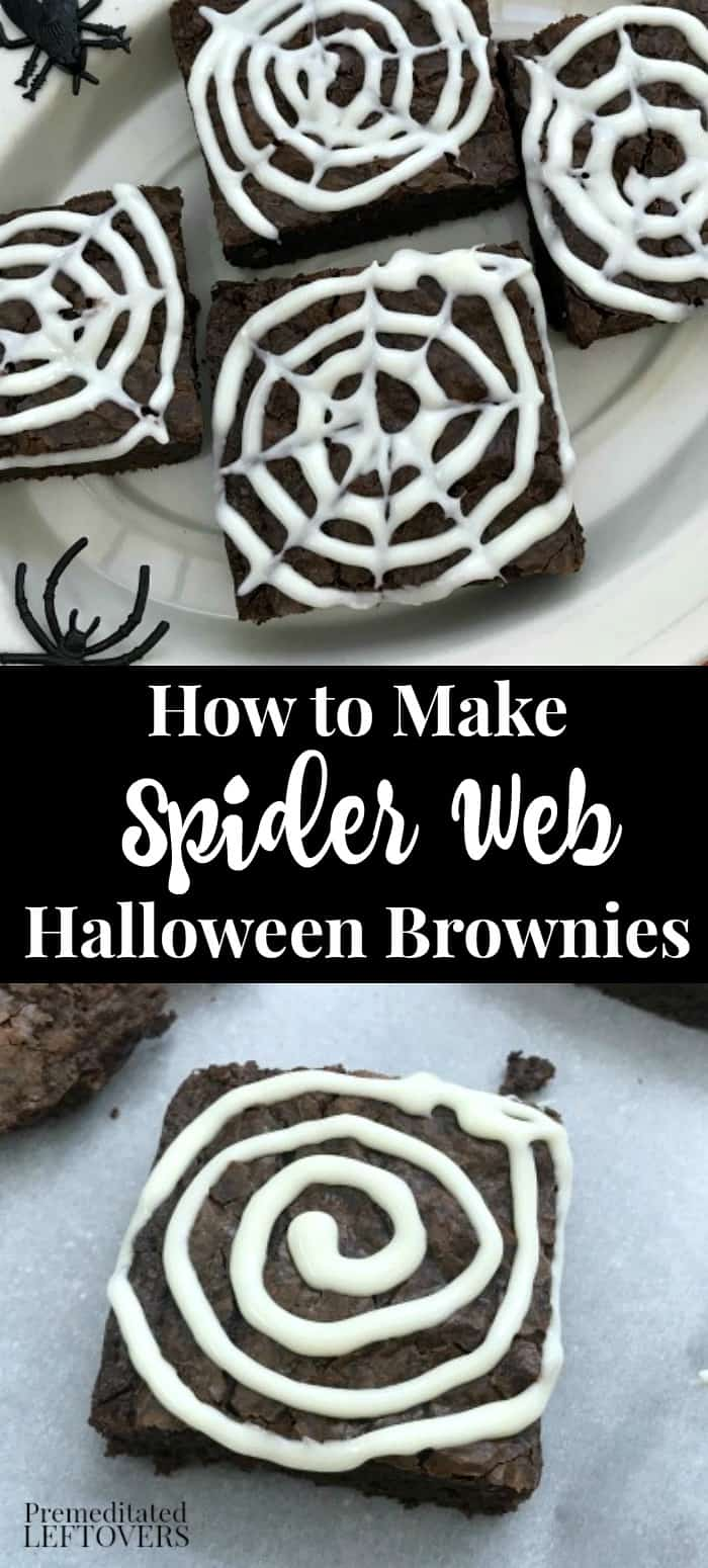 How to make spider web Halloween brownies #halloweendesserts
