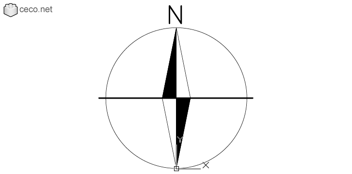 Autocad Drawing North Point Magnetic Compass Needle North Symbol In Symbols Signs Signals North Arrows Compass Needle Magnetic Compass Autocad Drawing
