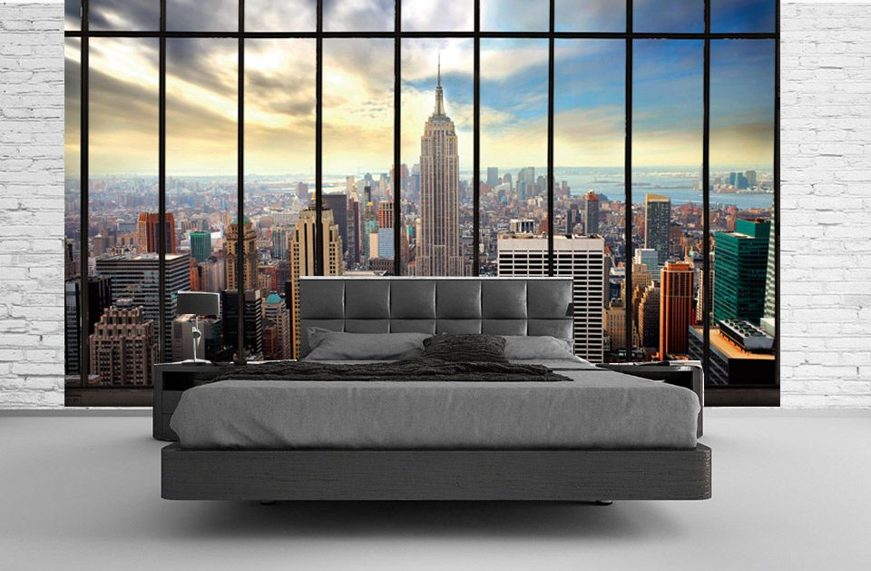 ce papier peint trompe l 39 oeil de new york laisse. Black Bedroom Furniture Sets. Home Design Ideas