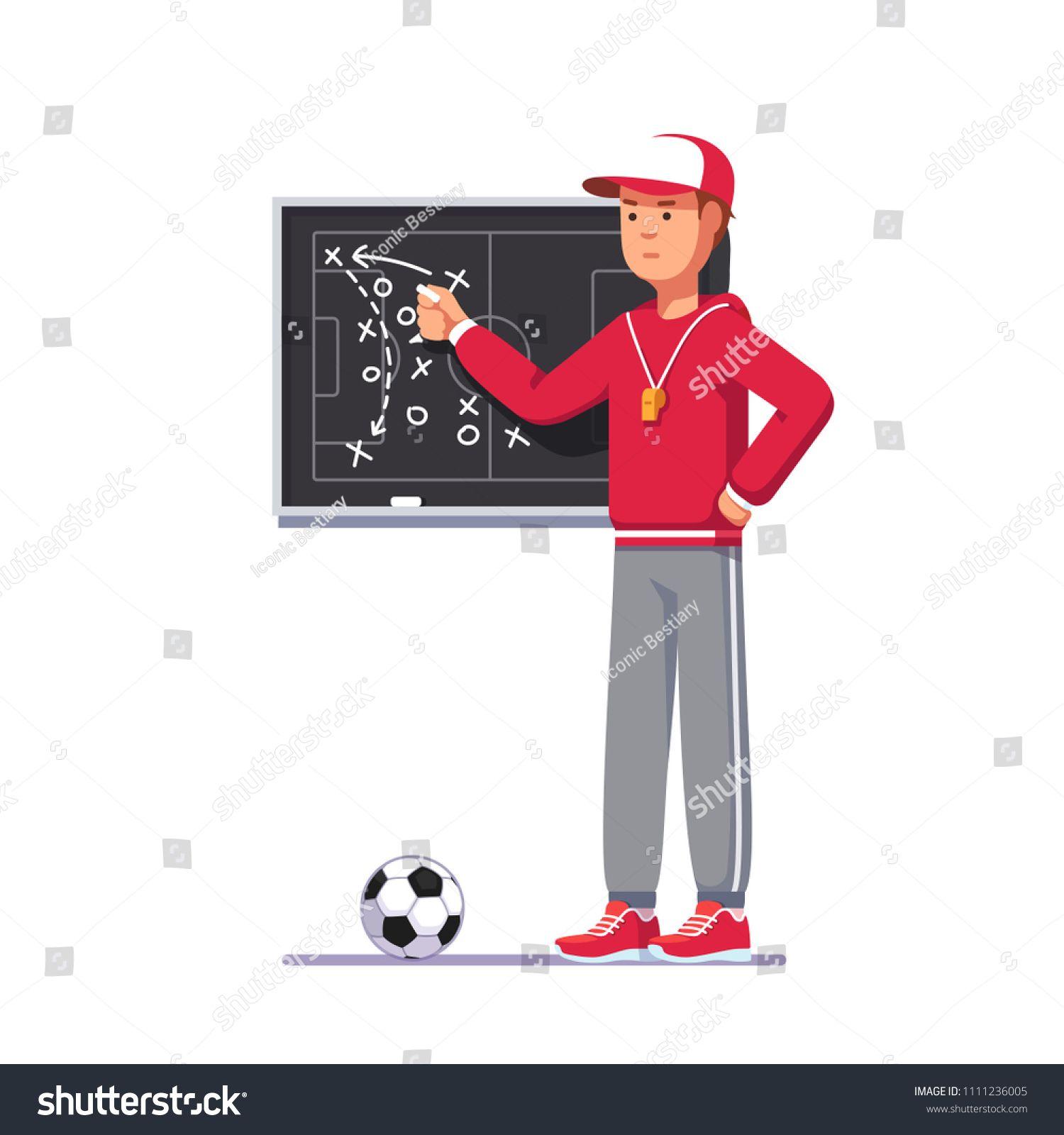 Soccer Coach Man Drawing Game Plan On Chalk Board Playbook Teaching Game Tactics Drawing Games Soccer Coaching Coach Men
