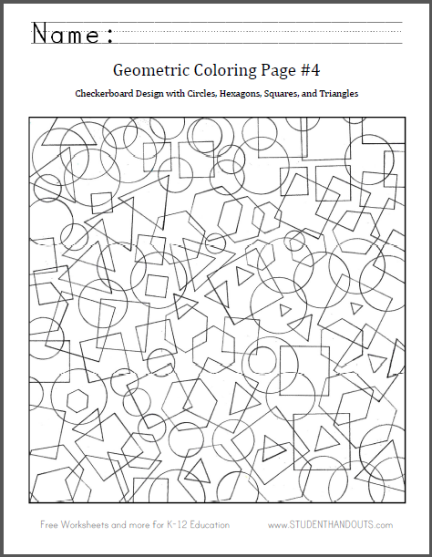 Geometric Coloring Page 4 Student Handouts Geometric Coloring Pages Shape Coloring Pages Coloring Pages