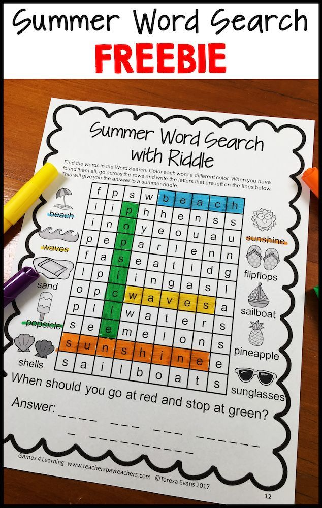 Free Summer Math Games, Summer Writing, Summer Word Search