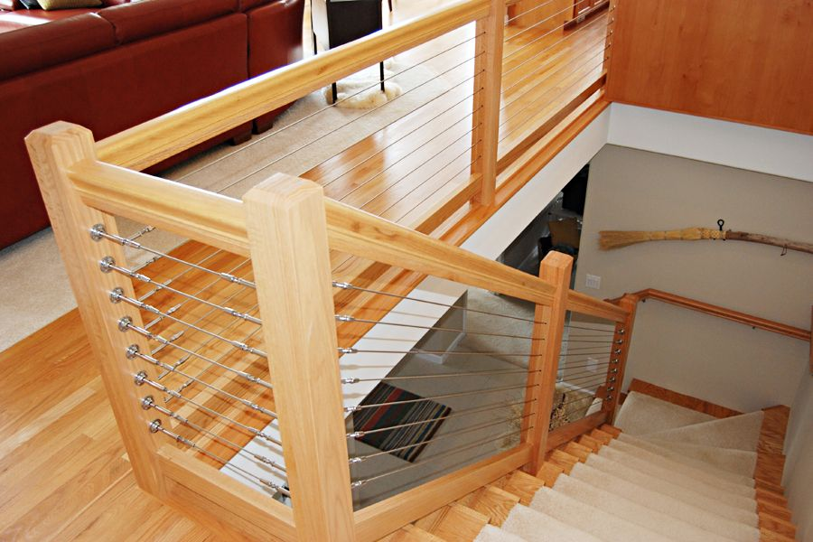 Deck Railing Photo Gallery Stainless Steel Cable Railing Cable   Wood And Cable Stair Railing   Stairway   Wrought Iron   Staircase Railing   White   Vertical