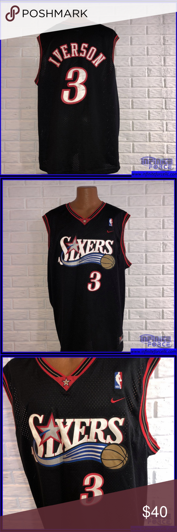 low priced 4e181 234ab Nike Iverson #3 Sixers Jersey-Size 48 Throwback Vintage Nike ...