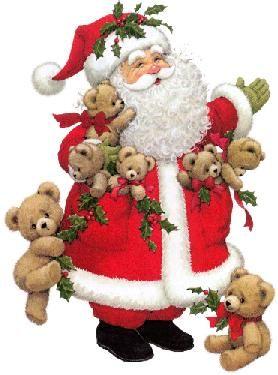 Santa Claus with teddy bears climbing all over him - Ruth Moorehead art