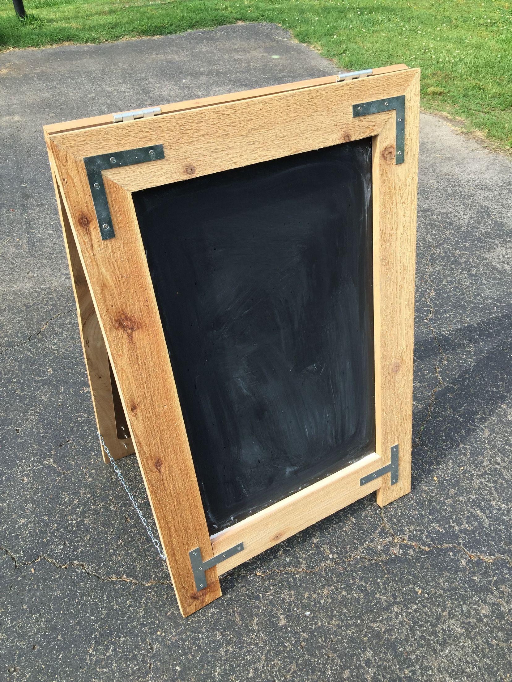 A-frame board I built using cedar boards, metal braces, liquid nails ...