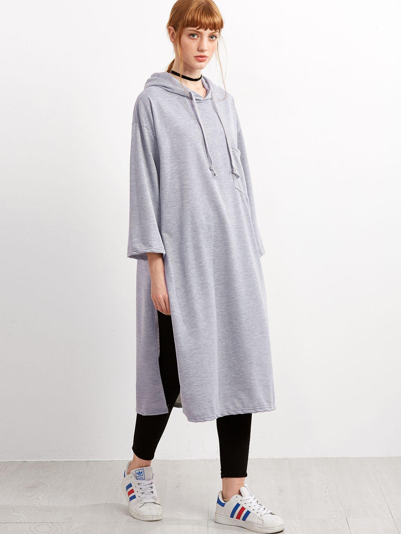 chaussures exclusives bon out x caractéristiques exceptionnelles Sweat-shirt long fendu avec capuche - gris-French SheIn ...
